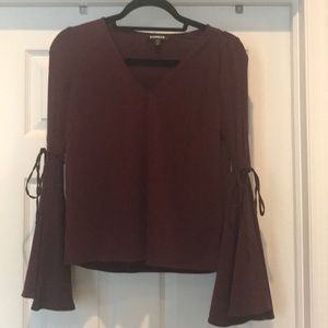 Express cold shoulder tie sleeve blouse